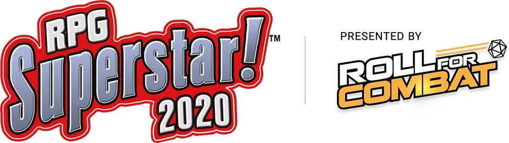 RPG Superstar! 2020 | Presented by Roll For Combat text logos