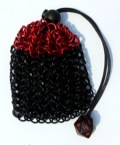 Chainmail Dice Bag—Anodized Aluminum: Red/Black