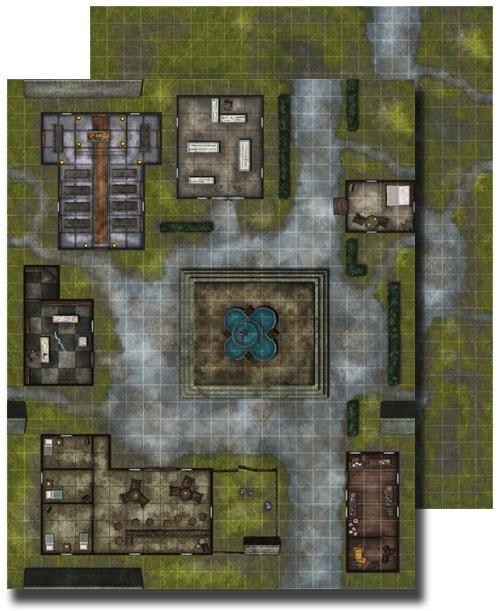 Paizo Com Gamemastery Flip Mat Village Square