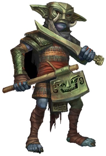 A Kao Ling hobgoblin in an ornate mask dual-wielding a sword and axe.