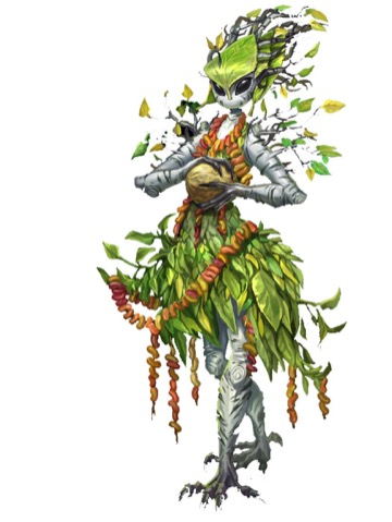 A tall, graceful humanoid composed of tree branches and leaves cradles a huge seed pod in its hands.