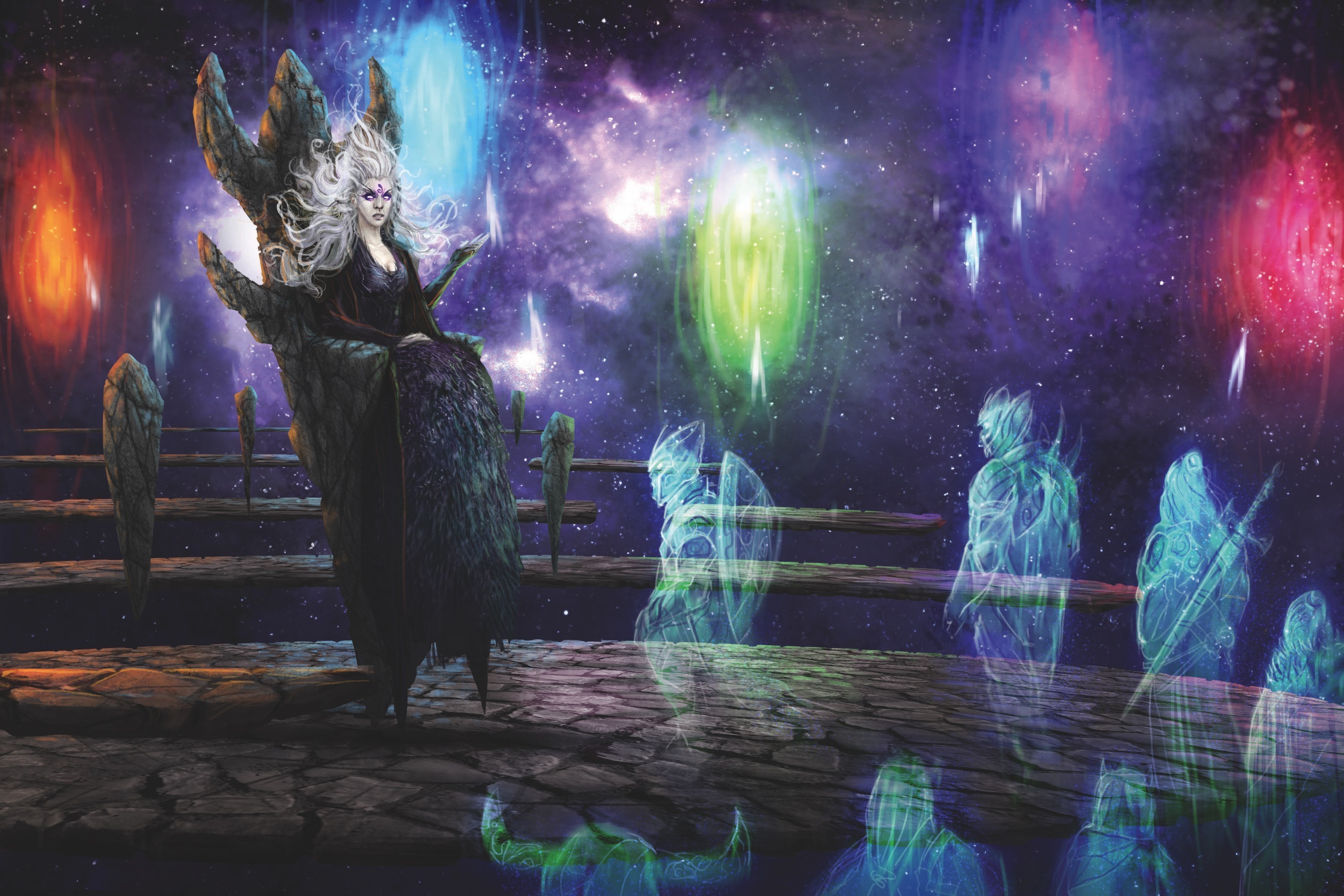 The pale goddess Pharasma sits on a floating stone throne in judging a line of ghostly translucent souls from the Pathfinder Windsong Testaments fiction.