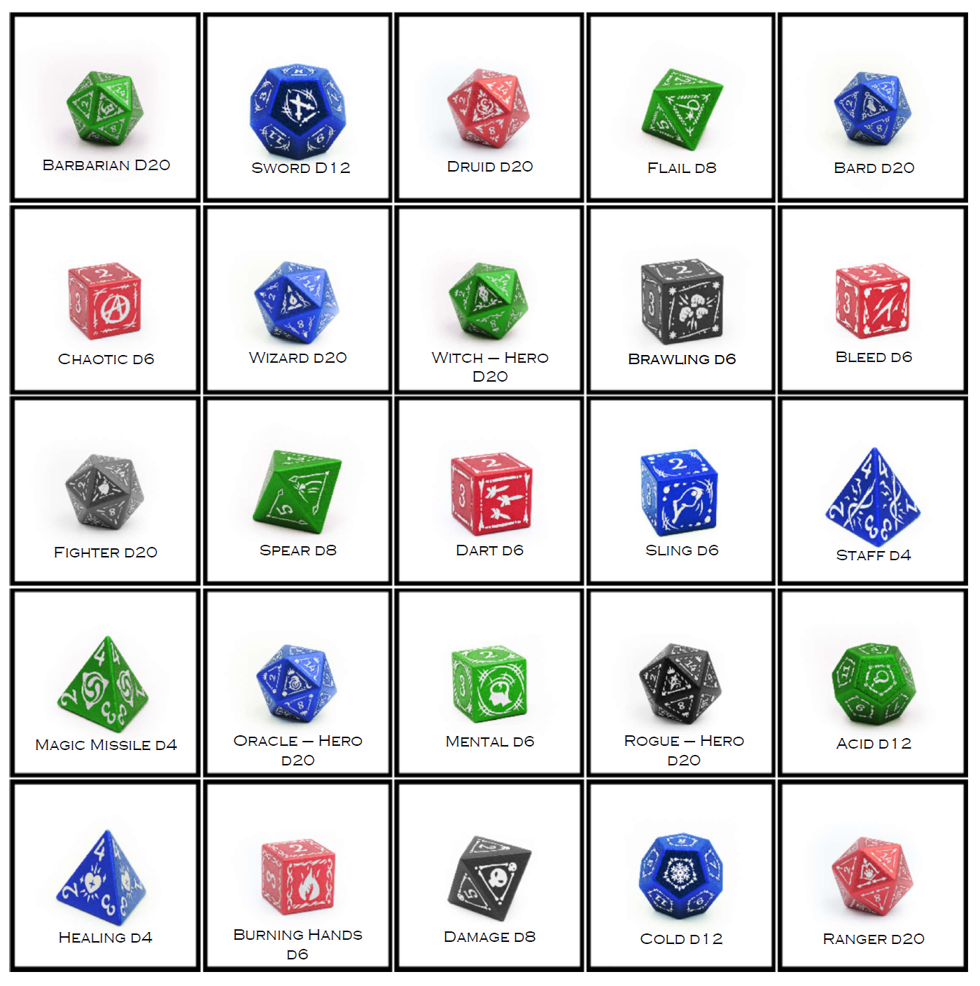 Grid of different dice options, listed left to right in five rows of five. Row one: Green Barbarian D20, Blue Sword D12, Red Druid D20, Green Flail D8, Blue Bard D20. Row two: Red Chaotic D6, Blue wizard D20, Green Witch - Hero D20, Grey Brawling D6, Red Bleed D6. Row three, Grey fighter D20, Green Spear D8, Red Dart D6, Blue sling D6, Blue staff D4. Row four: Green magic missile D4, Blue Oracle - hero D20, Green mental D6, Grey rogue - hero D20, Green Acid D12. Row five: blue Healing D4, Red burning hands D6, grey damage D8, blue Cold D12, red ranger D20