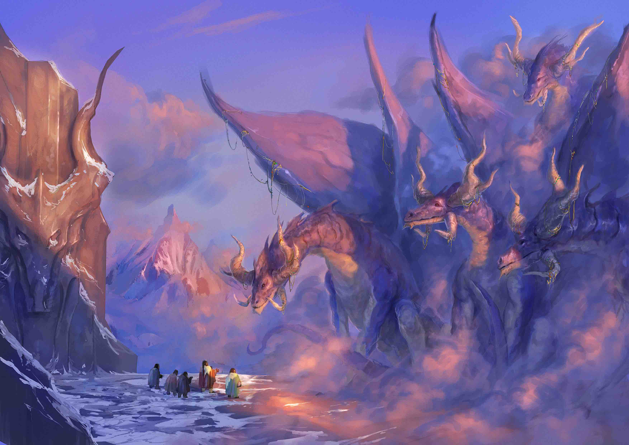Illustration by Maichol Quinto. Atop a flat mountain peak among the clouds, a small band of dwarves conducts diplomatic relations with an assembly of mighty cloud dragons, each as large as a house.