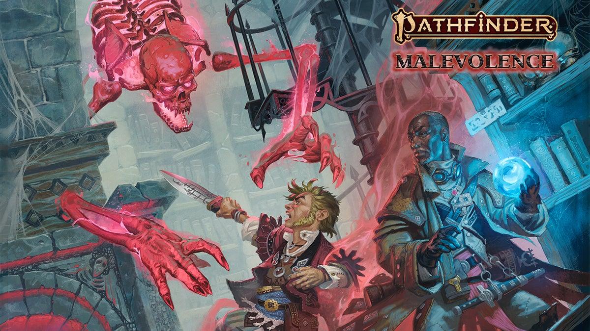 Pathfinder Malevolence: Pathfinder Iconics Quinn the investigator and Lem the bard battling a giant red skeleton
