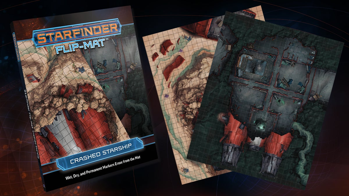 Starfinder Flip Mat: Crashed Starship. Square tiled mats featuring crashed and destroyed starship exterior and interiors