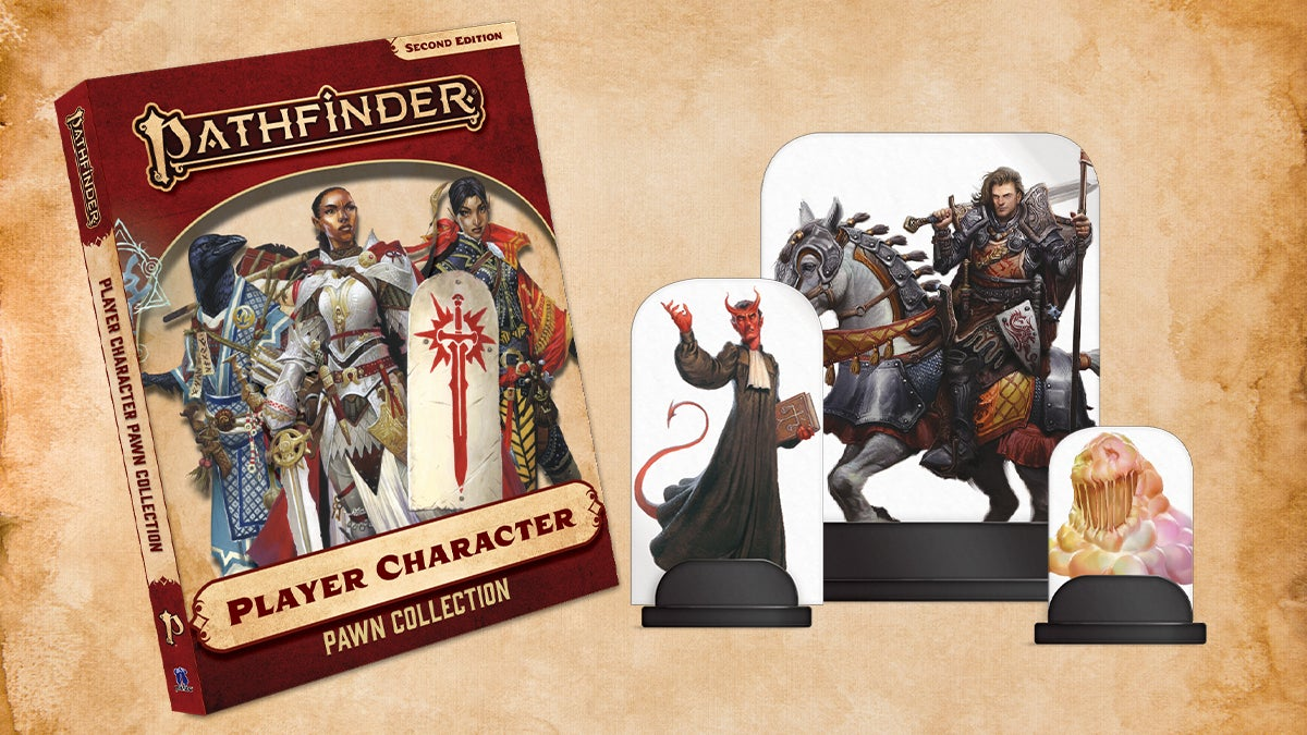 Pathfinder Player Character Pawn Collection Box cover featuring Iconics Seelah the paladin, Korakai the Oracle, and Jirelle the Swashbuckler