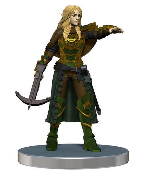 Promo mini figure of an elf in leathers long blond hair and a crossbow in one hand