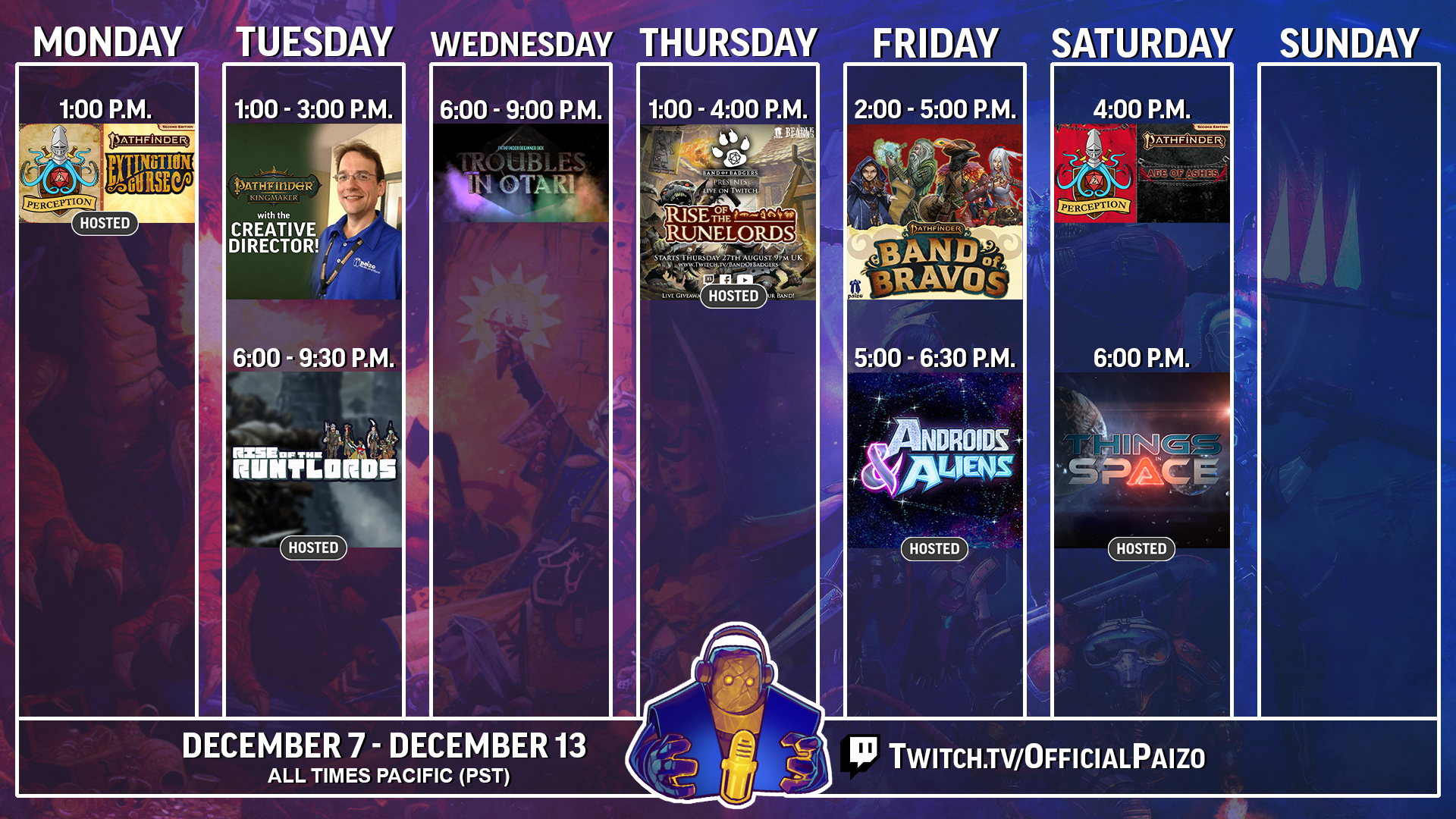 Official Paizo twitch streaming schedule for December 7th to the 13th