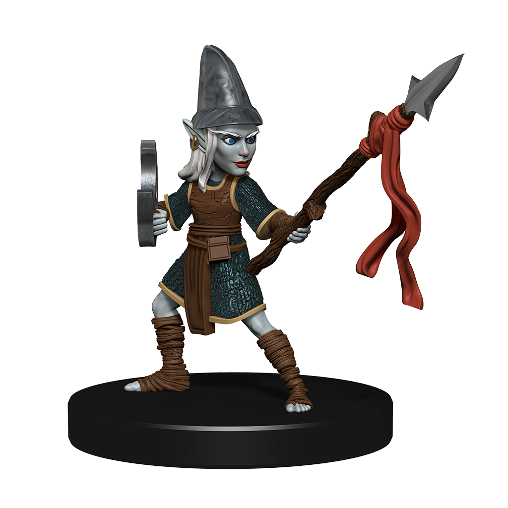Mini figure of a deep gnome warrior dressed in leathers and chain mail with a buckler on one arm and a spear in the other hand