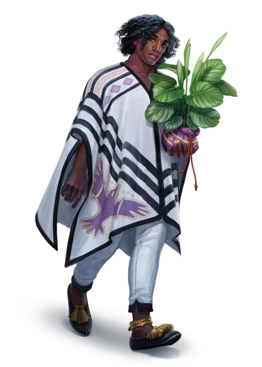 Osibu gardener wearing a long white poncho and holding a potted large leafy plant