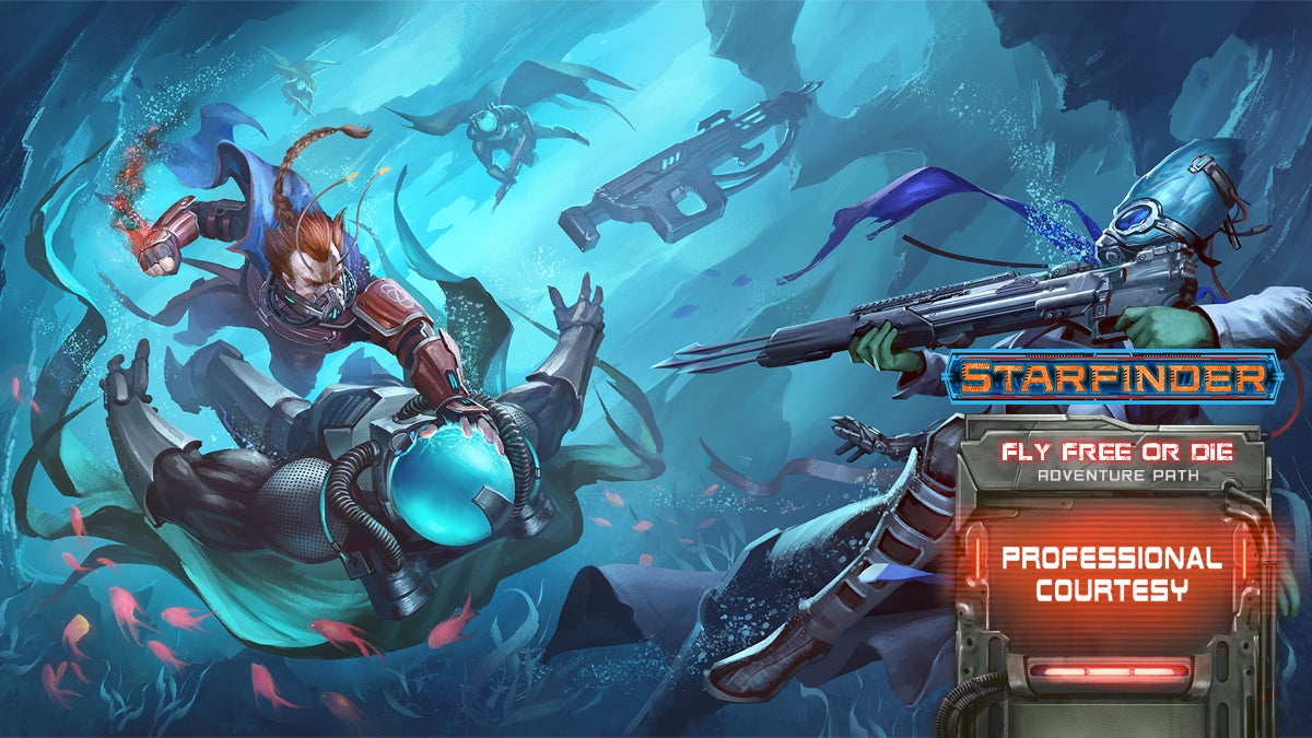 Starfinder Iconic Vanguard Velloro, and Iconic Biohacker Barsala battle suited enemies under water