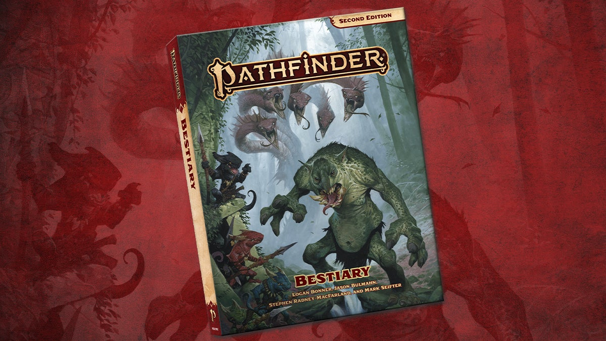 Pathfinder Second Edition Bestiary, featuring kobalds and a troll in the foreground with a hydra lurking in the misty background