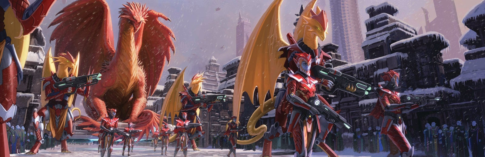 = A military parade consisting of uniformed dragonkin and ryphorians makes its way through a snow-covered city street while a small crowd of citizens looks on. A massive red dragon oversees the proceedings.