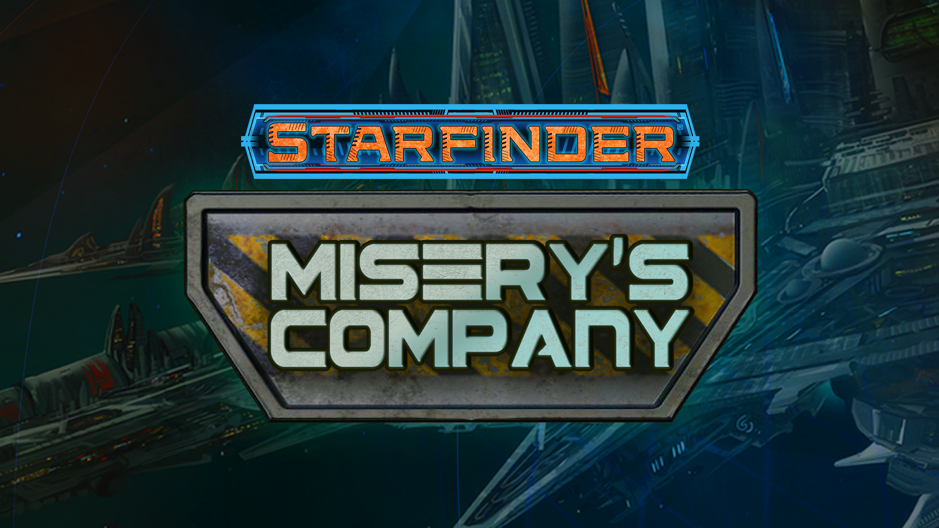 Misery's Company Web Fiction Title Treatment. Metal textured text over a space background