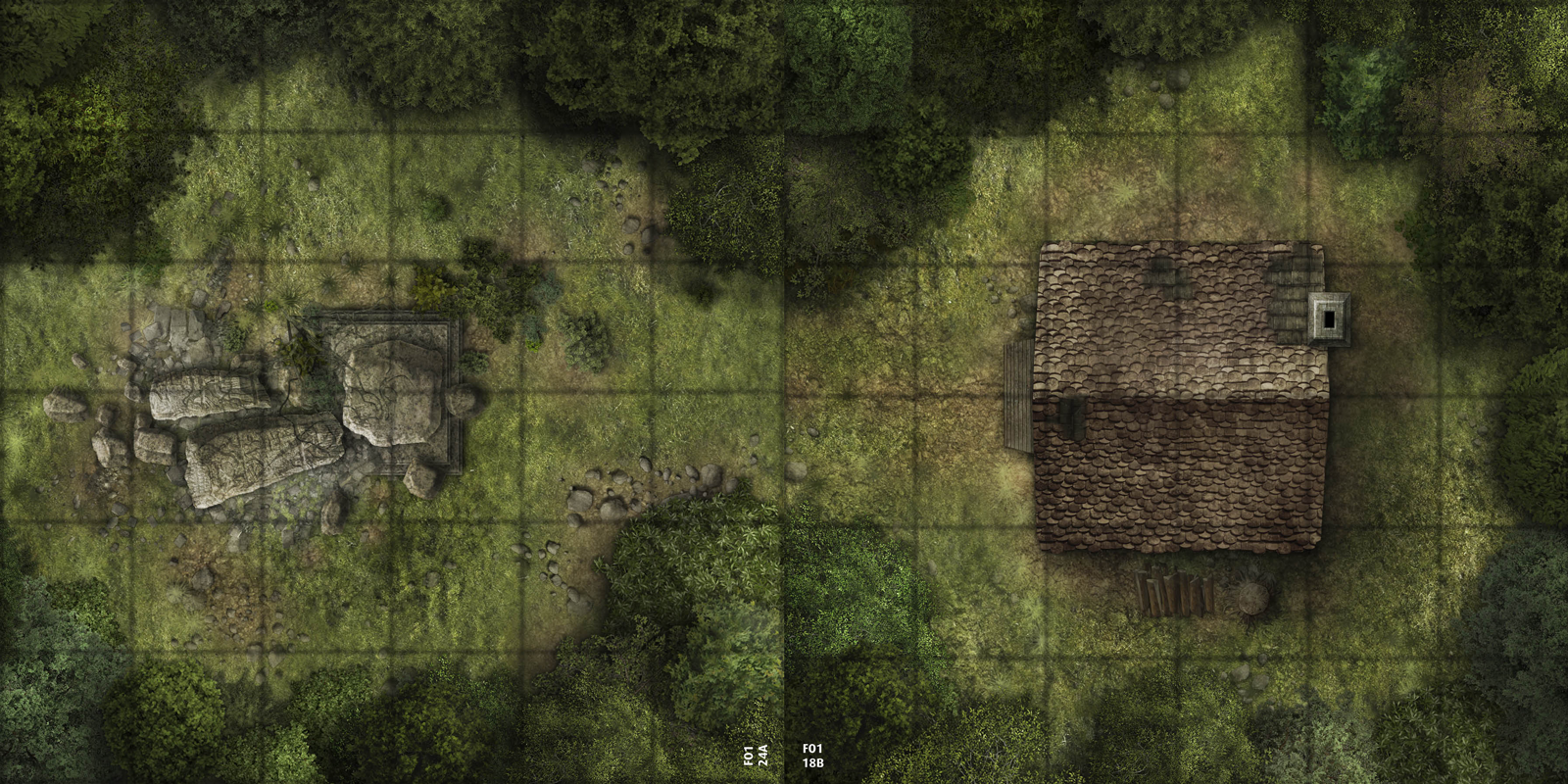 5 x 10 map depicting a small clearing full of a ruined shrine in front of a small hut in the woods