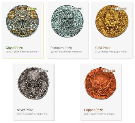 RPG Superstar! 2020 Grand Prize, Platinum Prize, Gold Prize, Silver Prize, and Copper Prize medals.