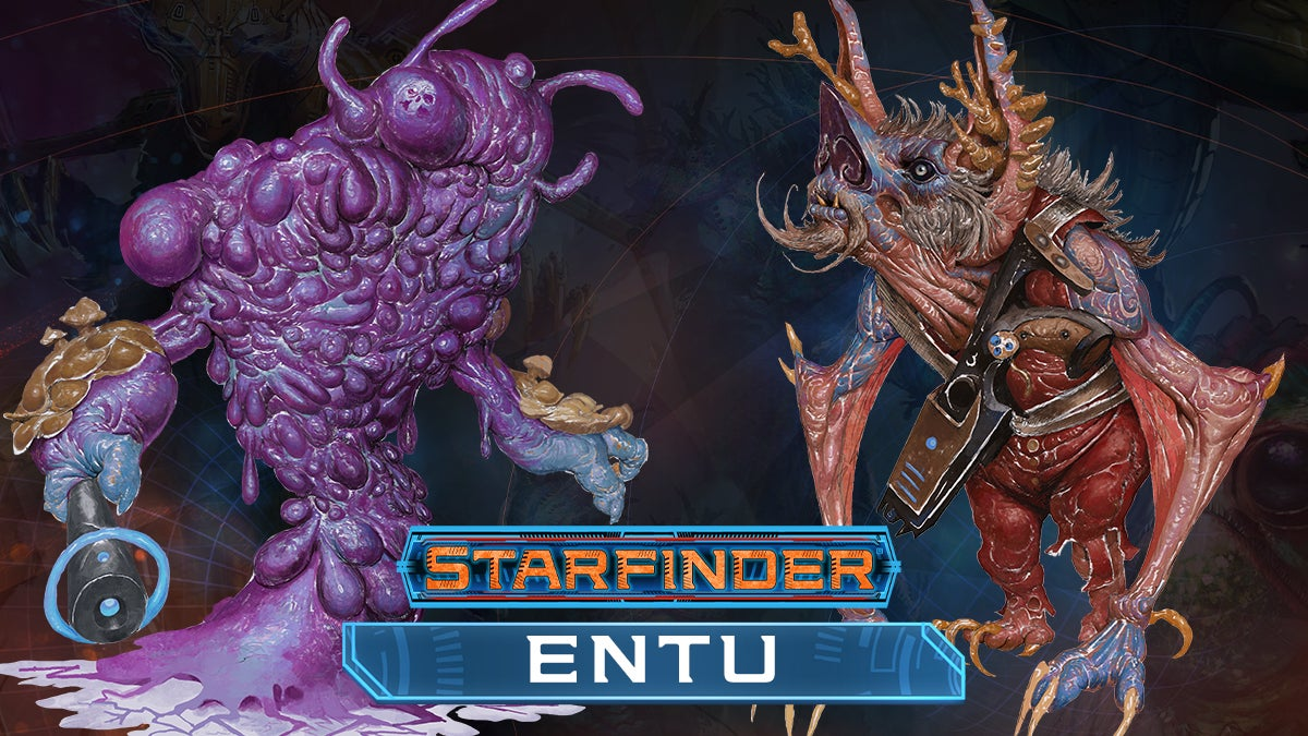 Two versions of the Entu playable race. The Amorphous colony ooze-like creature and the Entu symbiote which lives with a host alien
