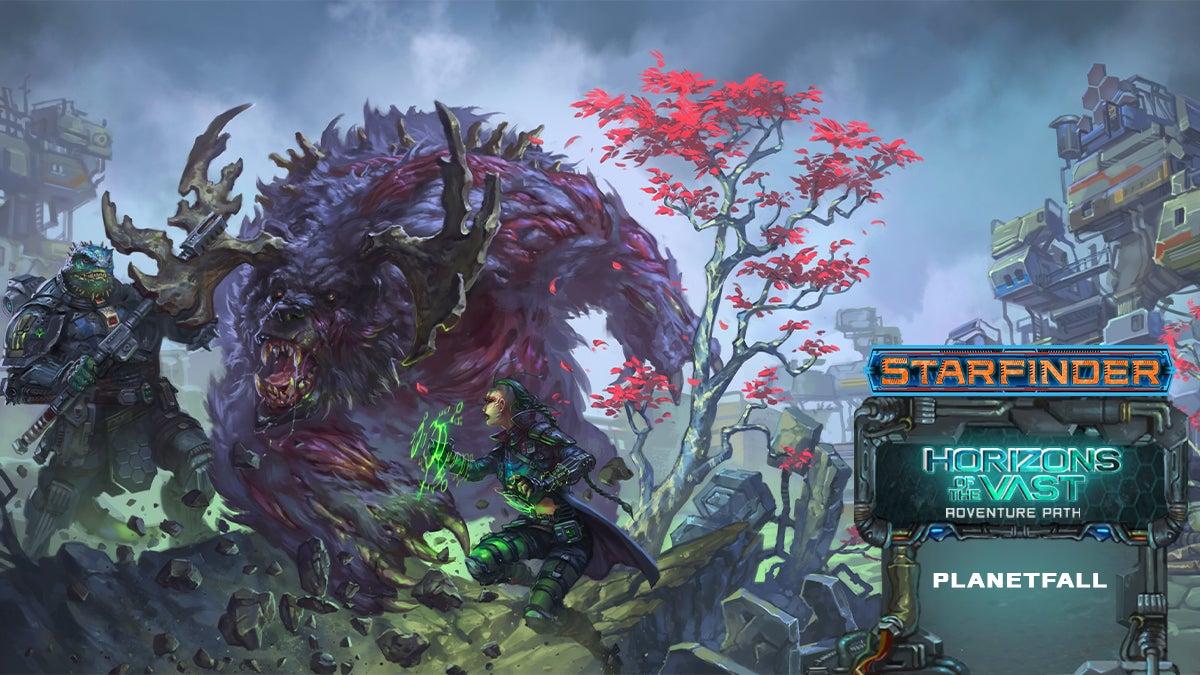 Horizons of the Vast: Planetfall. Iconics Obozaya and Raia battling a large bear-like creature with antlers
