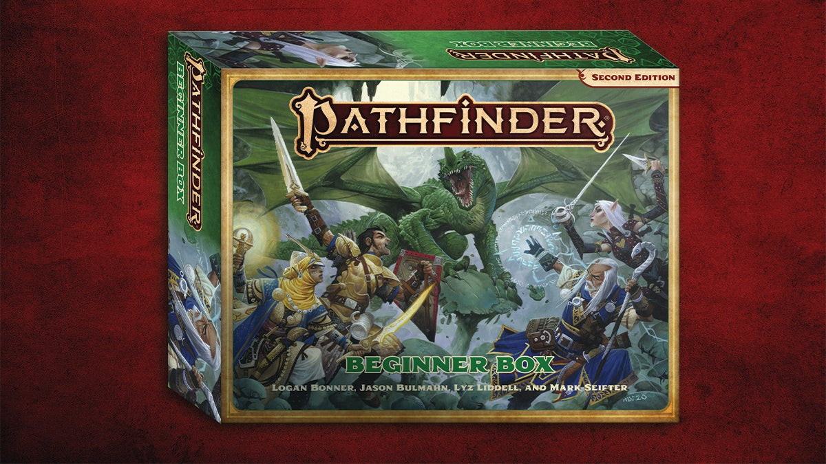 Pathfinder Beginner Box 3D mockup on a textured red background, Pathfinder Iconics battle a green dragon on the cover of the box