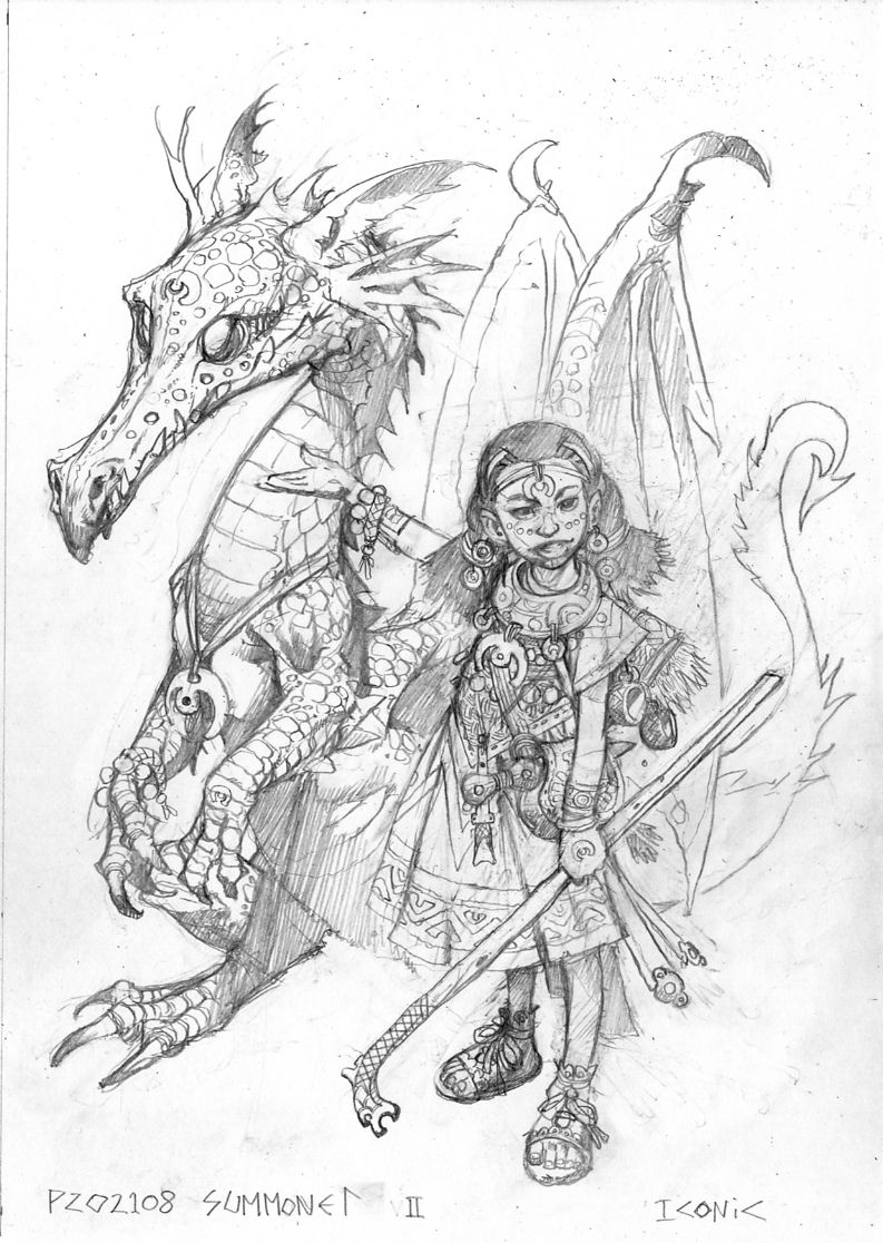 Sketch of a dark-skinned human girl, wearing mage's robes. She gestures to her eidolon, a dragon several feet taller than her.