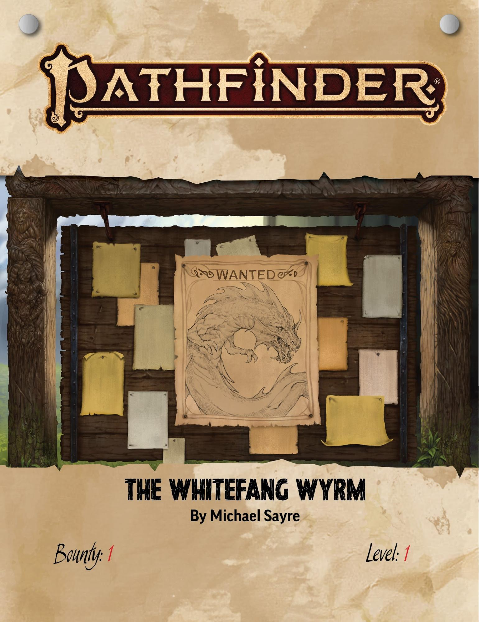 Pathfinder Bounty Witch's Winter Holiday: A wanted board with a poster of a whitefang wyrm