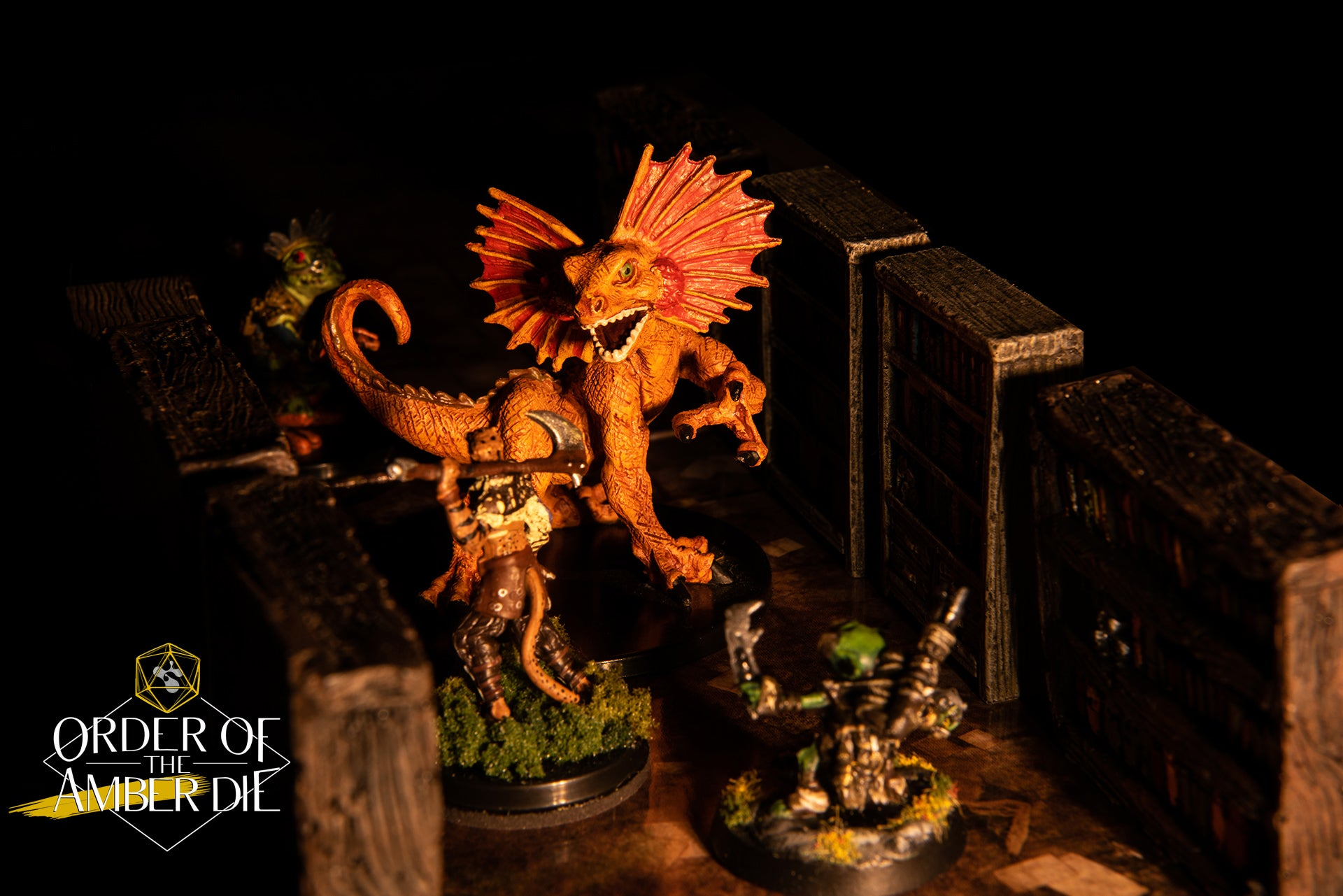 A mini figure large lizard-like creature stands over our players' figures, standing out ominously in the torchlight