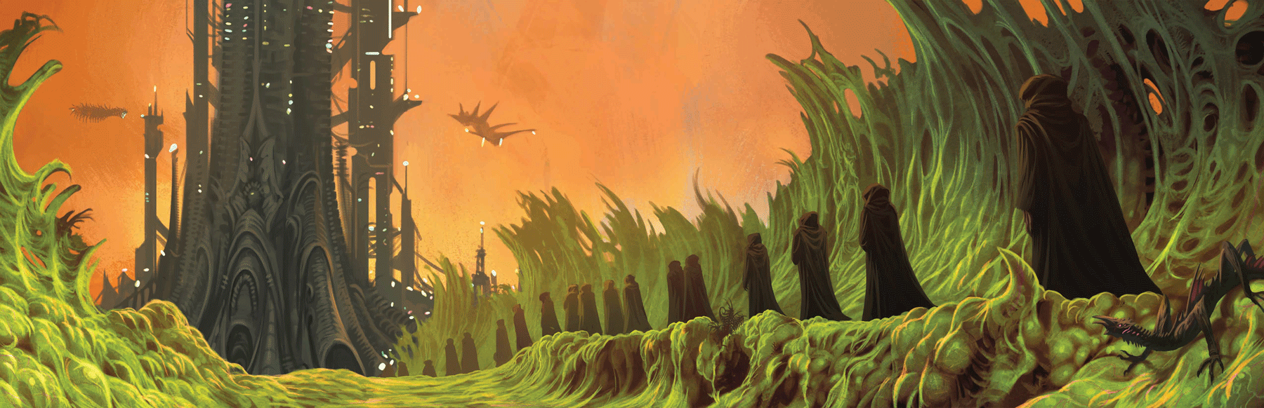 A procession of robed humanoids march along an alien planet's surface toward a looming structure made of dark stone and bone.