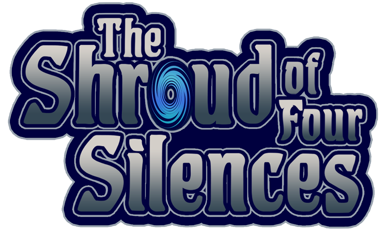 Text Based logo for the Pathfinder Tale: The Shroud of Four Silences. Grey text over a dark blue background with the 'O' in shroud shaped like a blue spiral