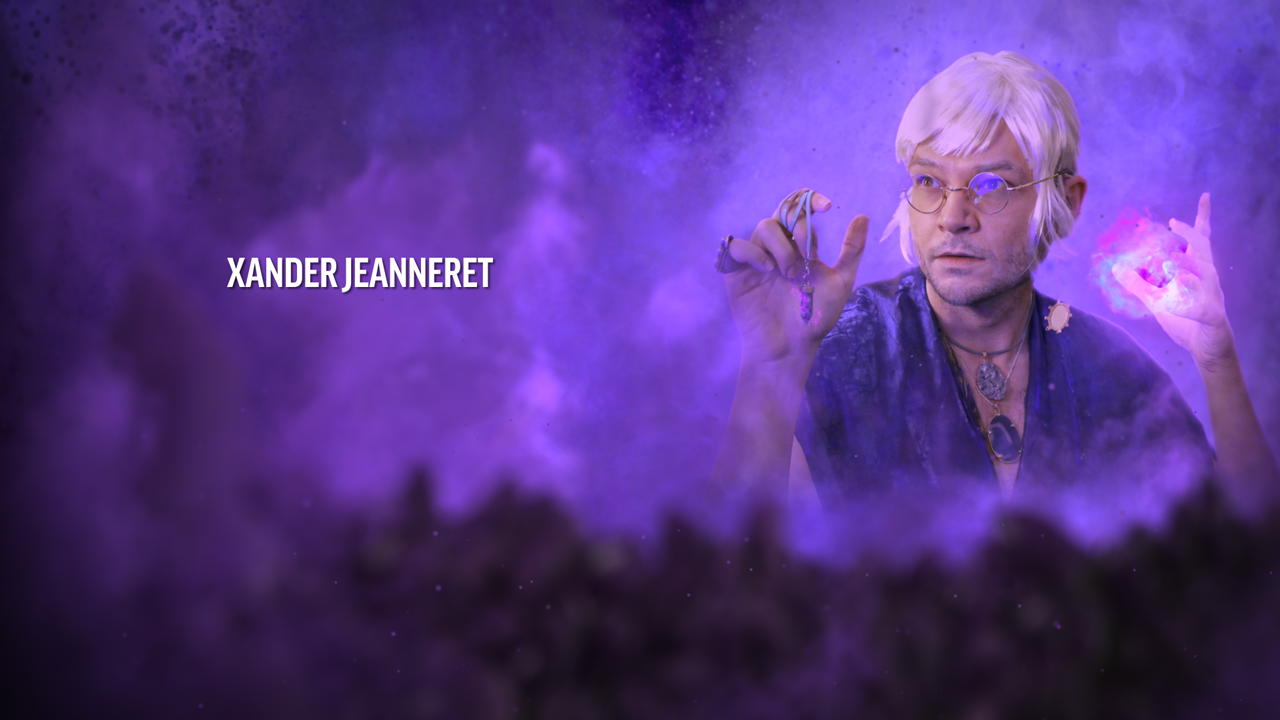 Xander Jeanneret, a white haired man in dark robes holds a crystal in one hands and summons magic in the other in a dark purple smokey atmosphere