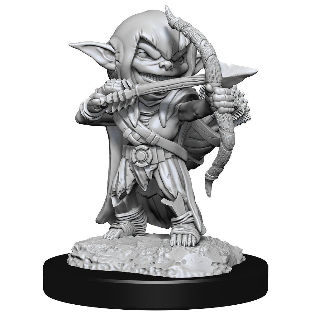Miniature of a female goblin rogue standing with a bow, drawn to fire