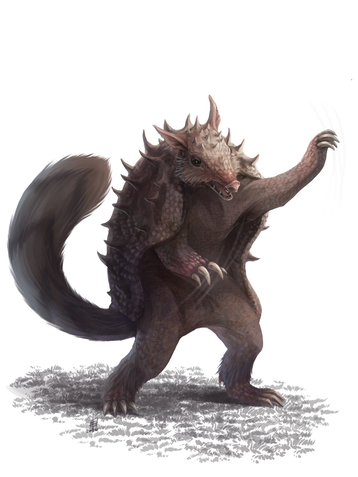 A spiked armadillo-like creature with a long fluffy tail, standing on its hind legs and reaching out