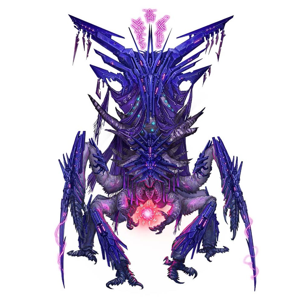 Hierarch Kraaton, a large insect-like alien with multiple arms and legs, summoning a ball of red energy between its shorter center-front arms