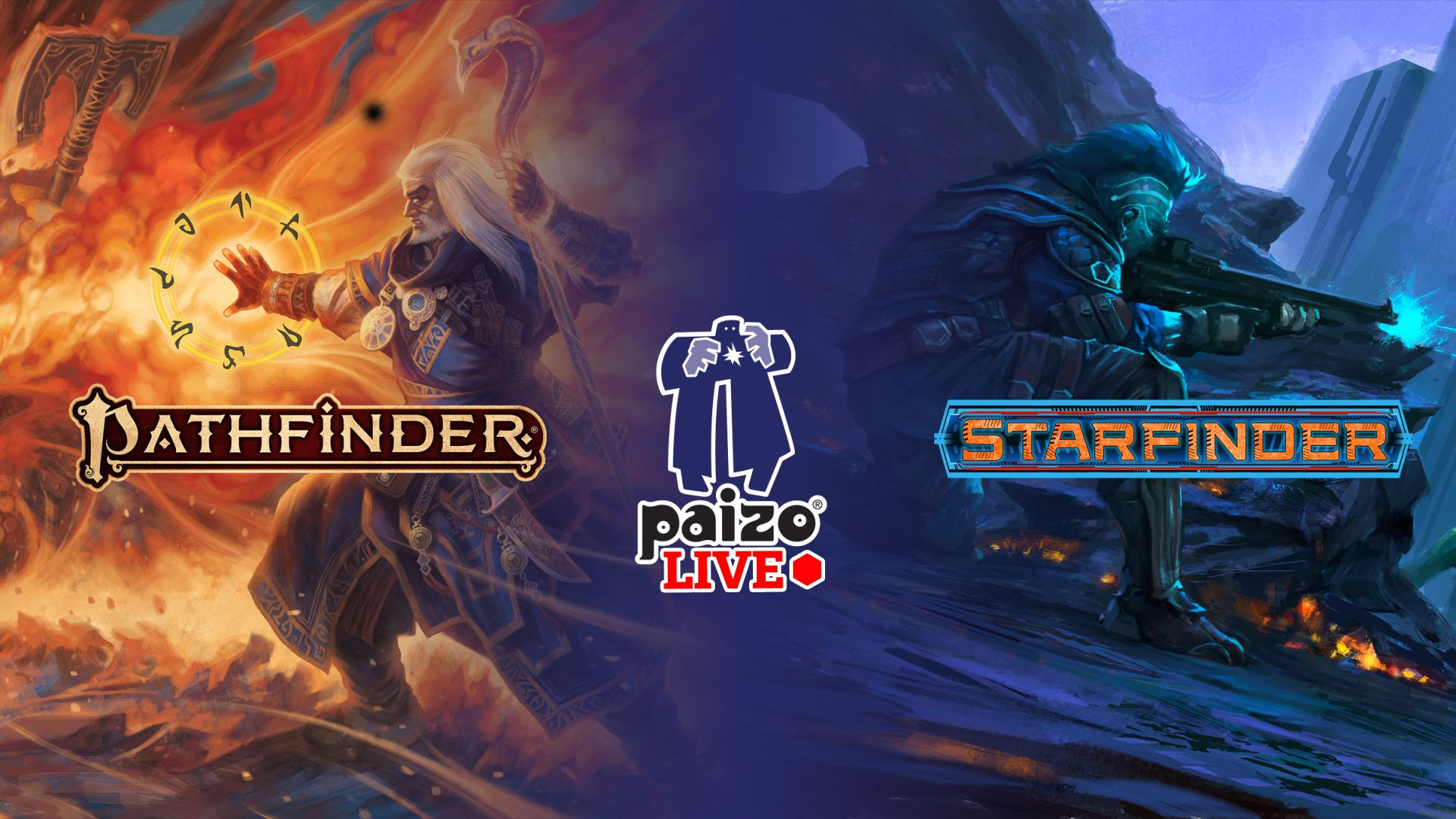 A meshed image of Pathfinder Iconic Ezren the wizard and Starfinder Iseph the operator battling back to back with the Pathfinder, Paizo, and Starfinder logos over the top