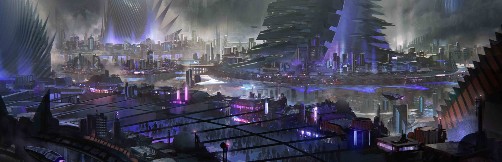 Spine-like spires tower over a neon-lit cityscape deep underground