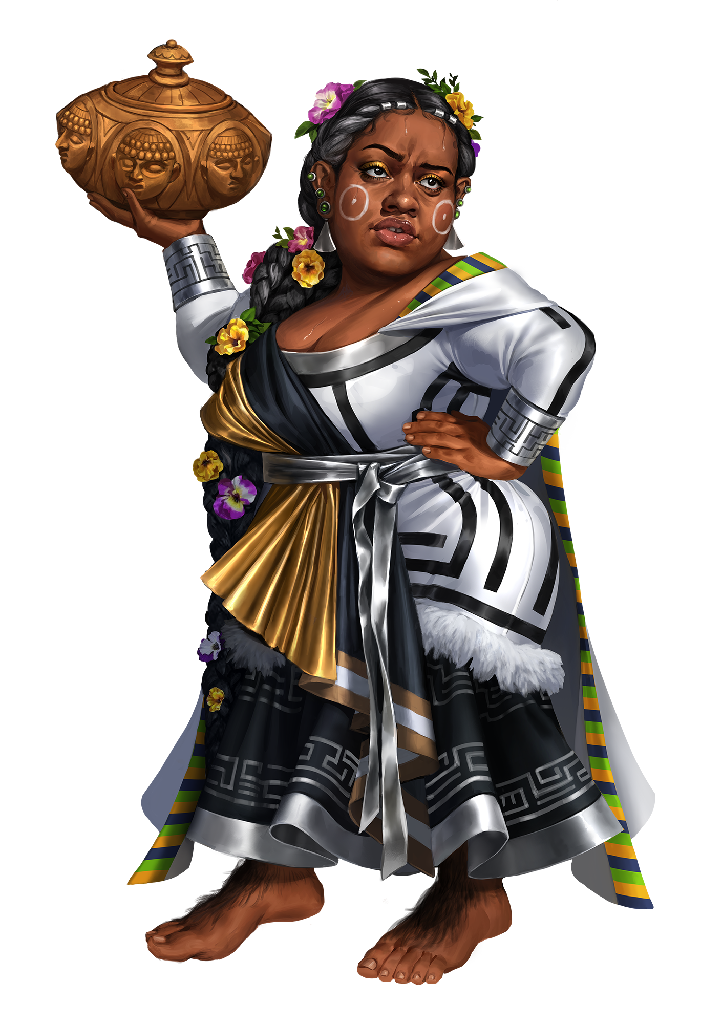 A halfling woman with a stylish black and white dress holding a golden pot