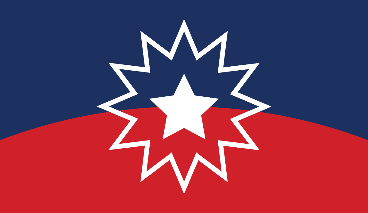 Flag divided evenly in half, with a blue top and red bottom and a gently arched line of division. In the middle is a solid white five pointed star surrounded by a blue/red area, then the white outline of a twelve-pointed star.