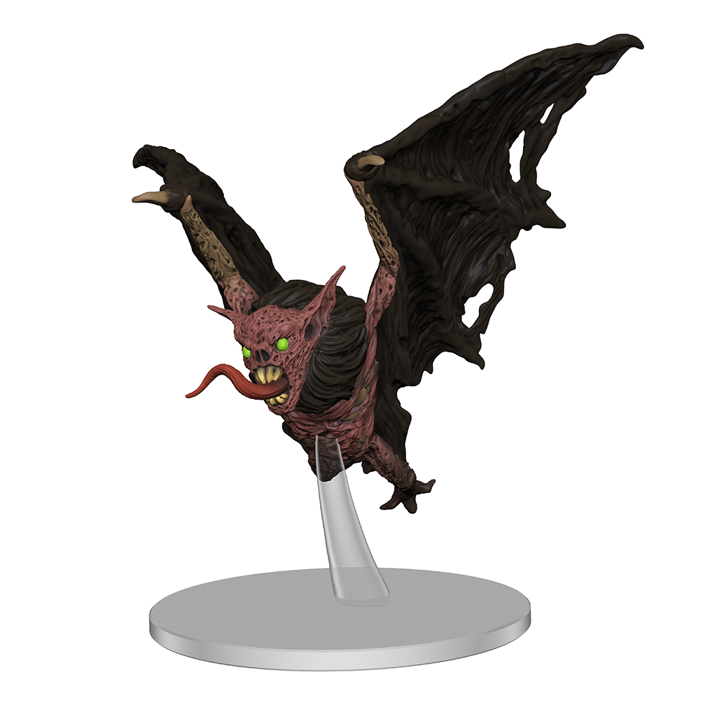 A mini figure of a large undead bat with green eyes and its tongue lashing out