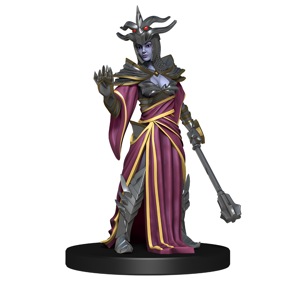 Mini figure of a drow priestress wearing purple and gold robes over her amor, she wears a spiked helmet and holds a mace in one handr