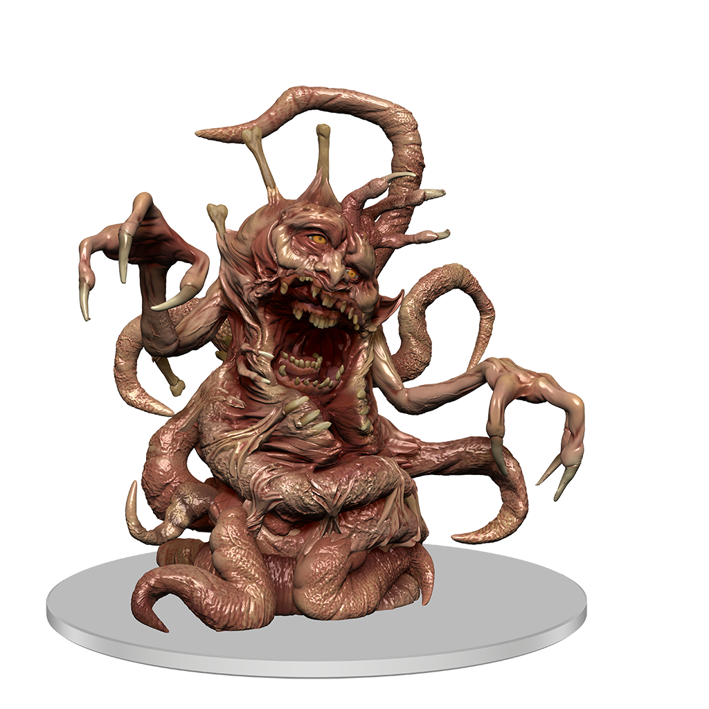 a mini figure of a flesh warped creature with multiple protruding limbs, bones, and tentacles. A mouth is open to reveal a second mouth inside