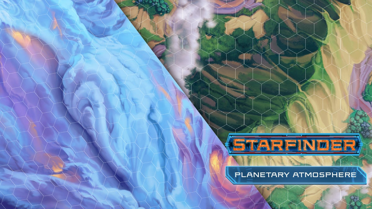Starfinder Planetary Atmosphere featuring two flip maps of a cloudy atmosphere and a clear sky looking down on a mountain range
