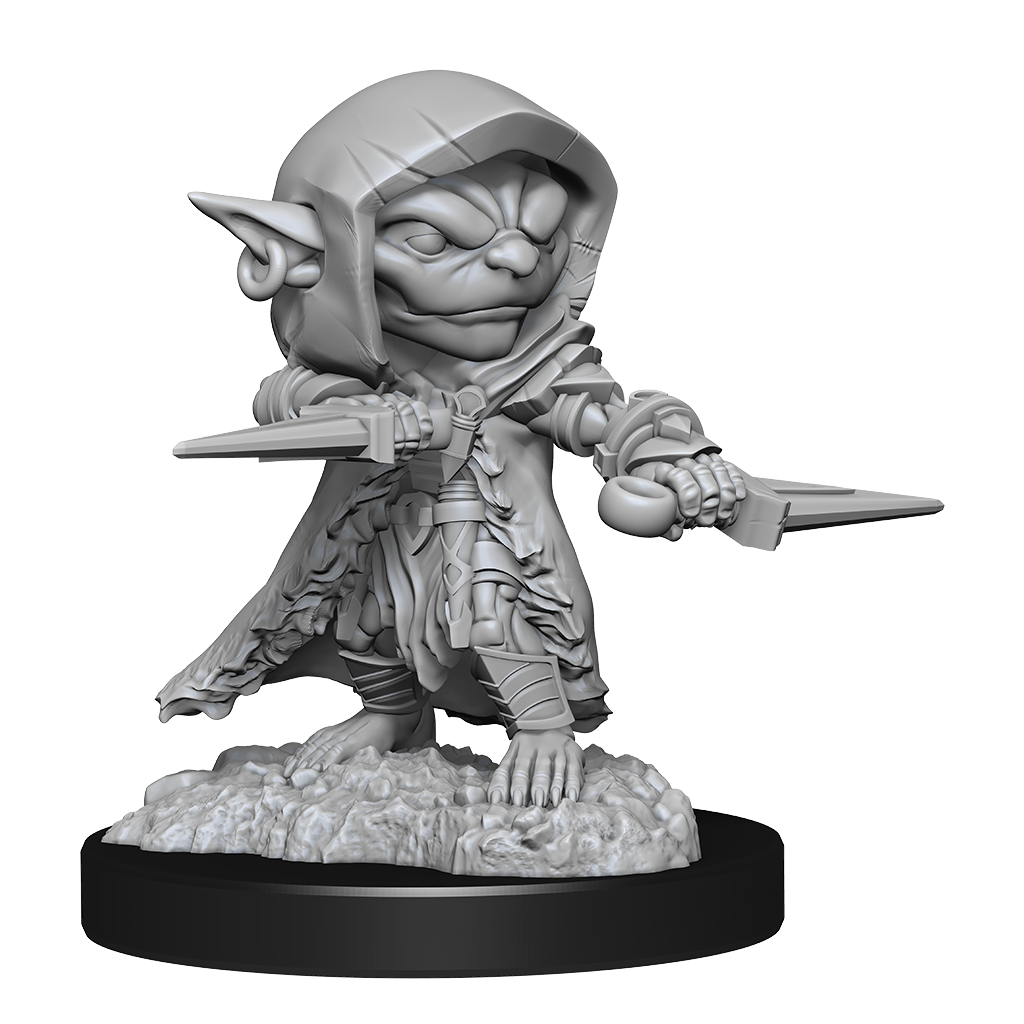 Miniature of a hooded goblin, holding two daggers in a defensive position