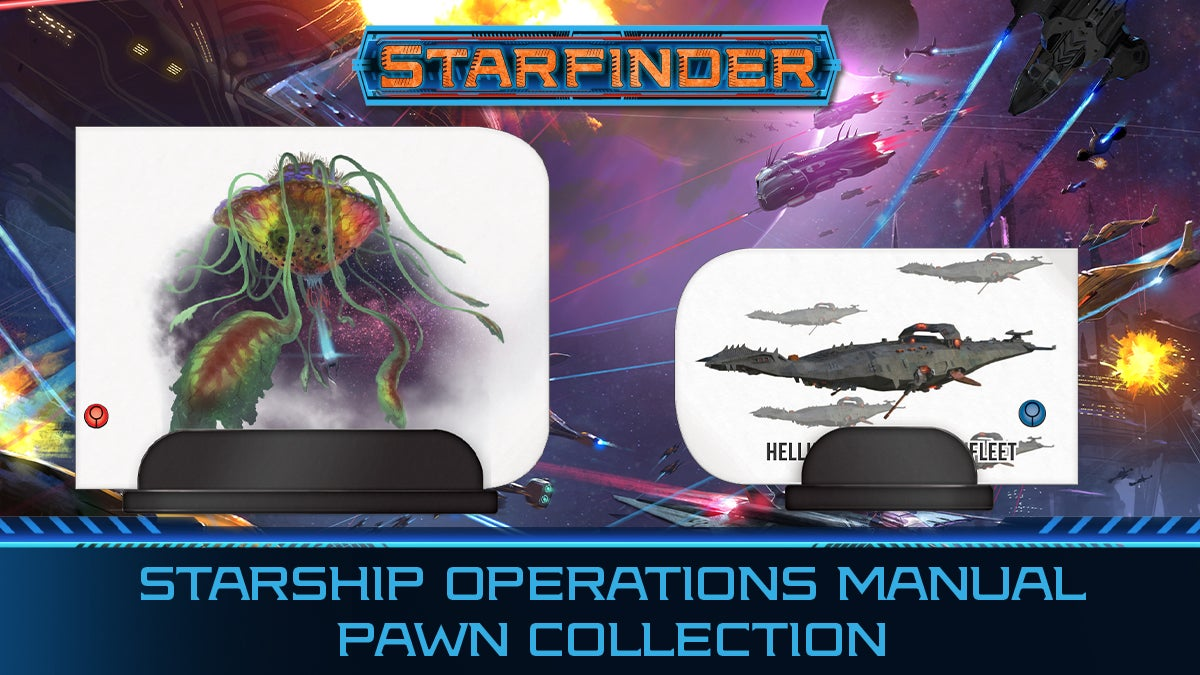 Starship Operations Manual Pawn Collection. Spaceship pawn and box cover overlay over an illustration of a multi-ship deep space battle
