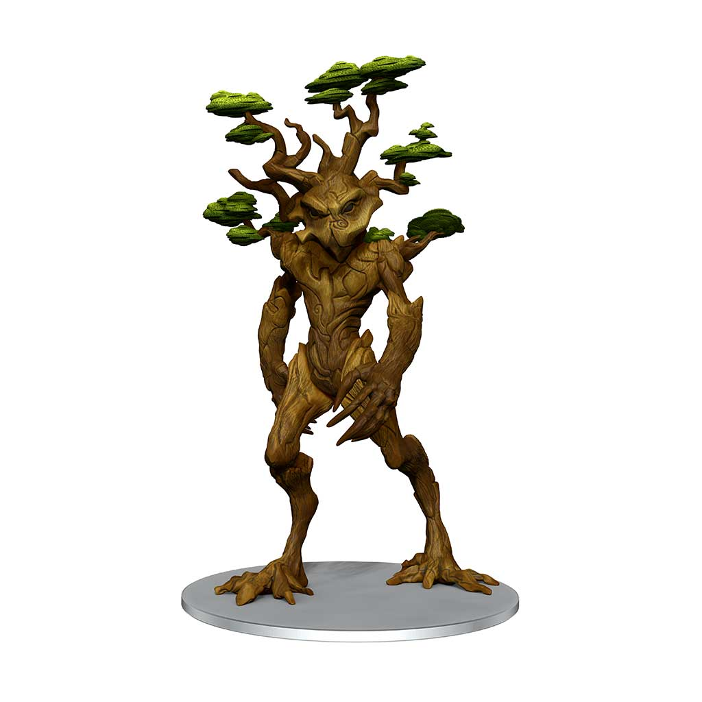 Arboreal Regent mini figure: a large tree-folk being with dark eyes and branches growing from their head and shoulders