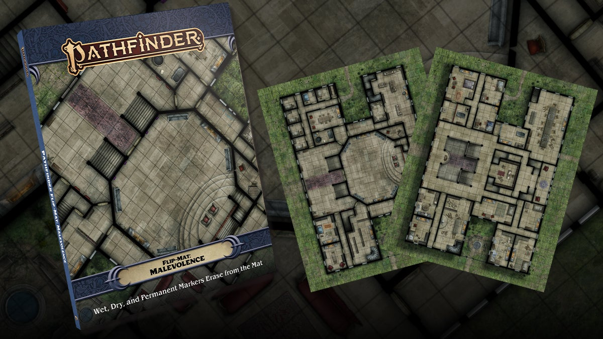 Pathfinder Flip-Mat Malevolence. One side depicts the ground floor of a haunted mansion while the other is the upper floor's layout