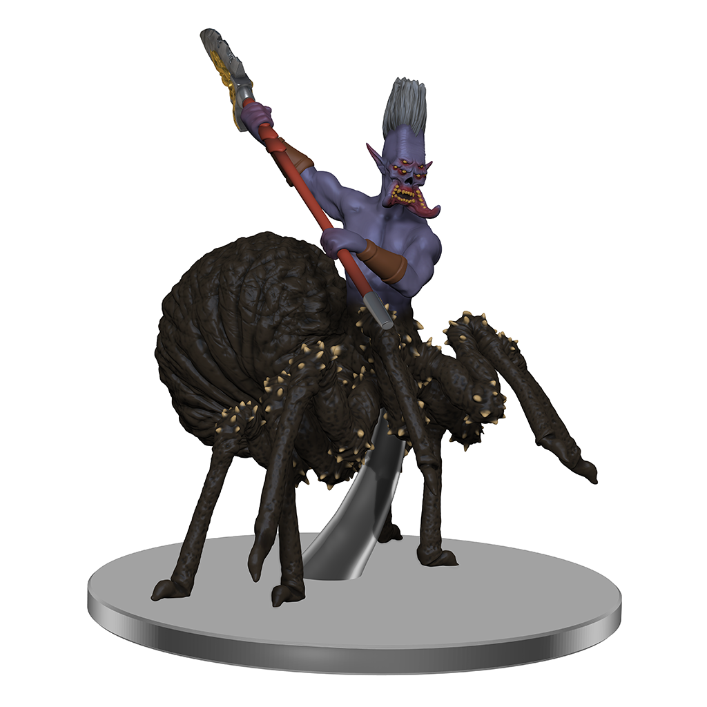 A mini figure with the lower body of a spider and torso of a drow with four eyes and mandibles. It holds a glaive in two hands, ready to attack
