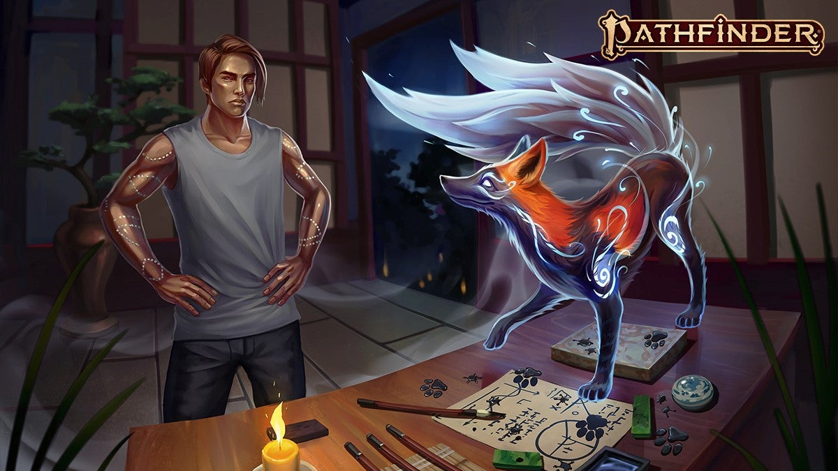 A fox with star-speckled fur covered in silvery whorls steps across a math-filled parchment on a table, leaving ink footprints behind. A Young man with golden skin looks on, annoyed.