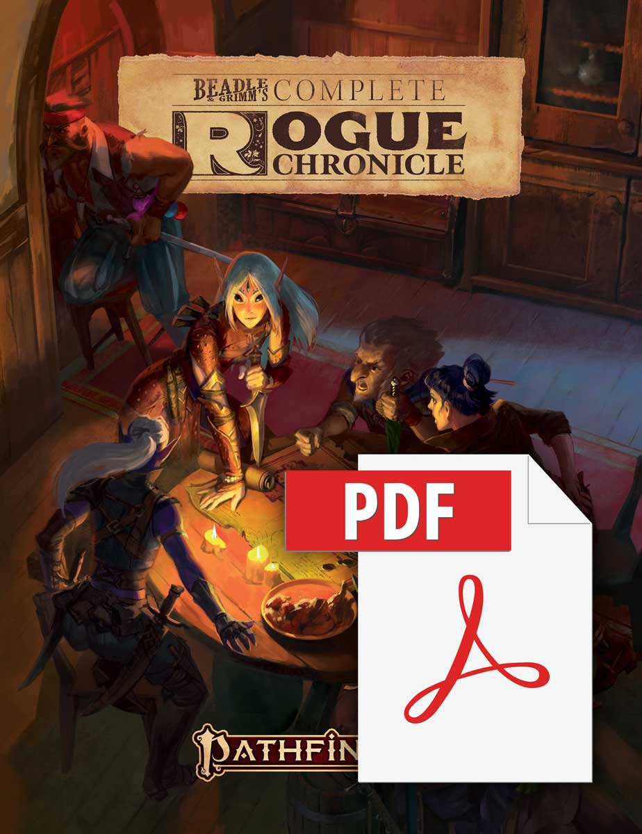Beadle and Grimm's Complete Rogue Chronicle. Pathfinder iconic rogue  Merisiel, stands at a candle-lit table with a small crew a her knife stabbed into a map