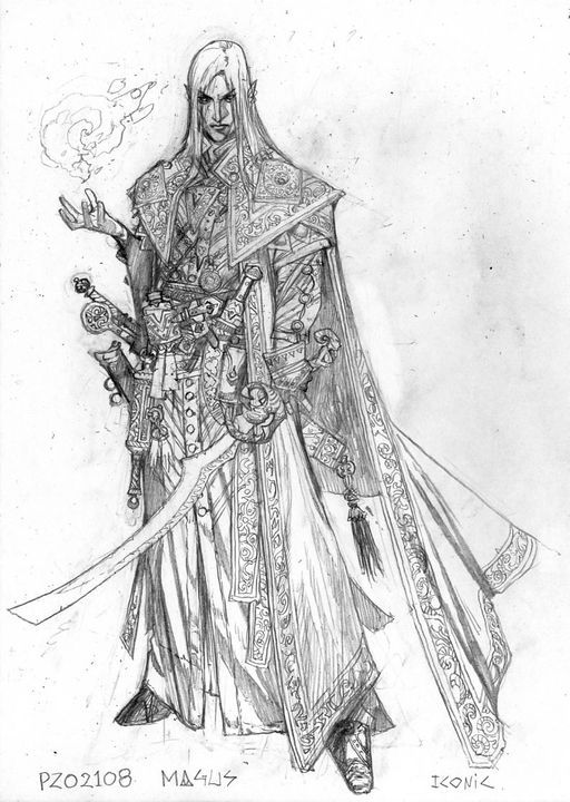 Sketch of a pale male half-elf with white hair. He wears ornate robes and carries a sword in one hand. Magical fire dances in his other hand.