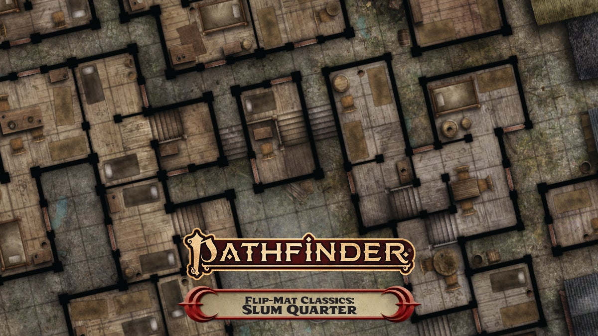 Pathfinder Flip-Mat Classics: Slum Quarter. A top down view of a square tiled flip mat, showing off the interior rooms of multiple dilapidated buildings